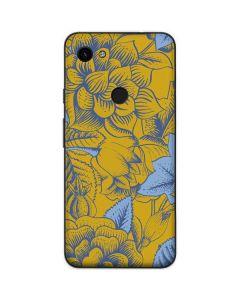 Mustard Yellow Floral Print Google Pixel 3a Skin