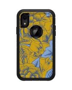Mustard Yellow Floral Print Otterbox Defender iPhone Skin