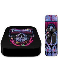 Neon Skull with Glasses Apple TV Skin