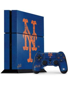 New York Mets - Solid Distressed PS4 Console and Controller Bundle Skin