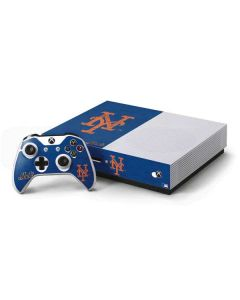 New York Mets - Solid Distressed Xbox One S Console and Controller Bundle Skin