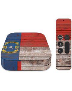 North Carolina Flag Dark Wood Apple TV Skin