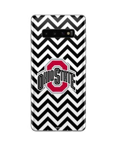 Ohio State Chevron Print Galaxy S10 Plus Skin