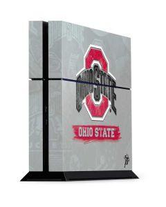 Ohio State Distressed Logo PS4 Console Skin