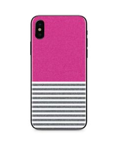 Pink and Grey Stripes iPhone X Skin
