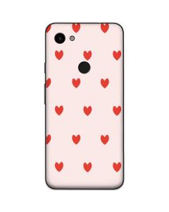 Pink and Red Hearts Google Pixel 3a Skin