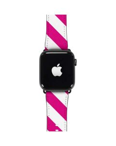 Pink and White Geometric Stripes Apple Watch Band 42-44mm