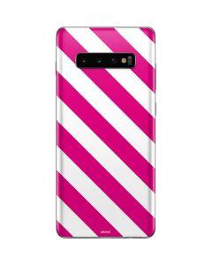Pink and White Geometric Stripes Galaxy S10 Plus Skin