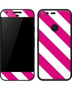 Pink and White Geometric Stripes Google Pixel Skin