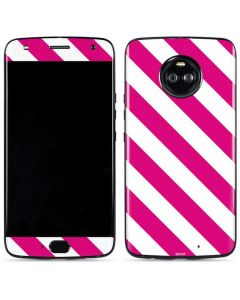 Pink and White Geometric Stripes Moto X4 Skin