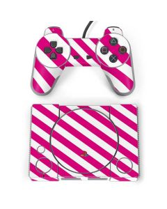 Pink and White Geometric Stripes PlayStation Classic Bundle Skin