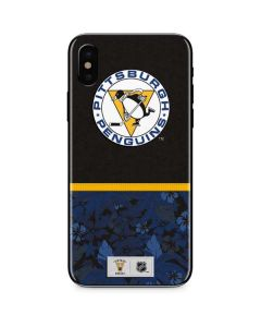 Pittsburgh Penguins Retro Tropical Print iPhone XS Skin
