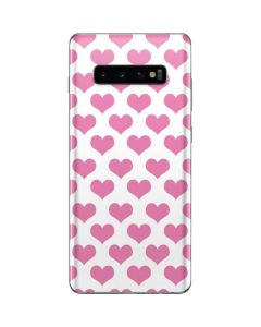 Plush Pink Hearts Galaxy S10 Plus Skin