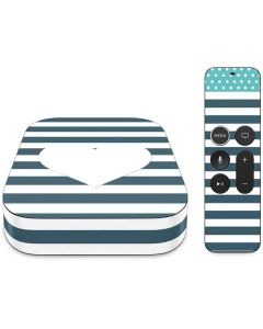 Polka Dots and Stripes Heart in Blue Apple TV Skin