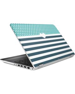 Polka Dots and Stripes Heart in Blue HP Pavilion Skin