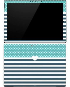 Polka Dots and Stripes Heart in Blue Surface Pro (2017) Skin
