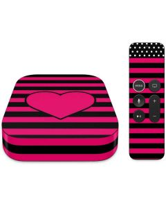Polka Dots and Stripes Heart in Pink Apple TV Skin