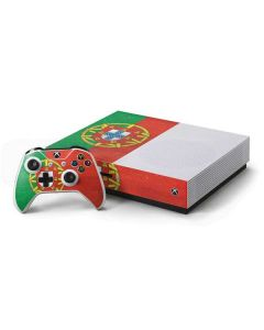 Portugal Flag Distressed Xbox One S Console and Controller Bundle Skin