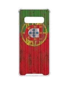 Portuguese Flag Dark Wood Galaxy S10 Plus Clear Case