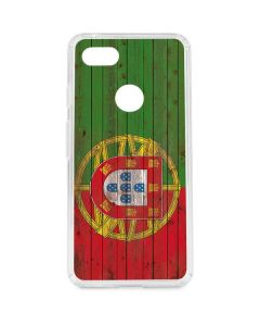 Portuguese Flag Dark Wood Google Pixel 3 XL Clear Case