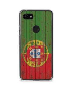 Portuguese Flag Dark Wood Google Pixel 3a Clear Case
