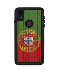 Portuguese Flag Dark Wood iPhone XR Waterproof Case