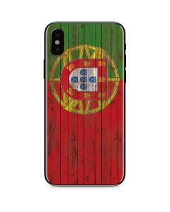 Portuguese Flag Dark Wood iPhone XS Skin