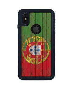 Portuguese Flag Dark Wood iPhone XS Waterproof Case