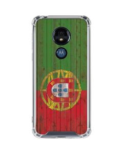 Portuguese Flag Dark Wood Moto G7 Power Clear Case
