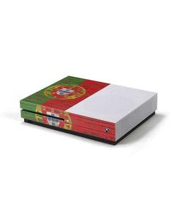 Portuguese Flag Dark Wood Xbox One S Console Skin