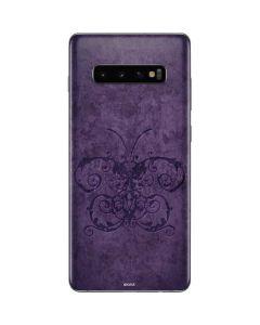 Purple Damask Butterfly Galaxy S10 Plus Skin