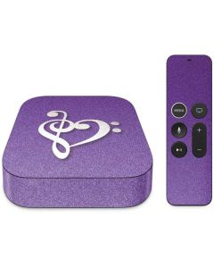 Purple Glitter Musical Heart Apple TV Skin