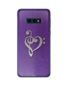 Purple Glitter Musical Heart Galaxy S10e Skin