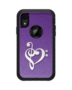 Purple Glitter Musical Heart Otterbox Defender iPhone Skin