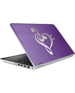 Purple Glitter Musical Heart HP Pavilion Skin