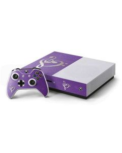 Purple Glitter Musical Heart Xbox One S Console and Controller Bundle Skin