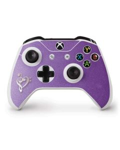 Purple Glitter Musical Heart Xbox One S Controller Skin