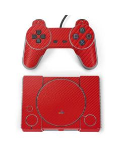 Red Carbon Fiber PlayStation Classic Bundle Skin