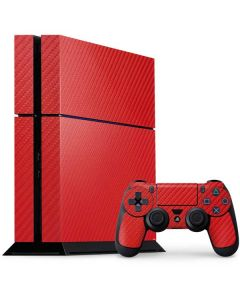 Red Carbon Fiber PS4 Console and Controller Bundle Skin