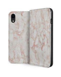 Rose Gold Marble iPhone XR Folio Case