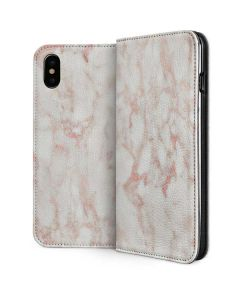 Rose Gold Marble iPhone XS Folio Case