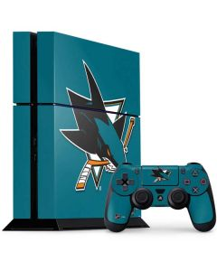 San Jose Sharks Solid Background PS4 Console and Controller Bundle Skin