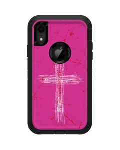 Scratched Cross Pink Otterbox Defender iPhone Skin