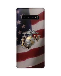 Silver Marine American Flag Galaxy S10 Plus Skin