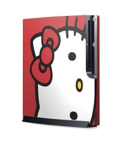 Hello Kitty Cropped Face Red Playstation 3 & PS3 Slim Skin