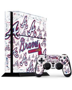 Atlanta Braves - White Primary Logo Blast PS4 Console and Controller Bundle Skin