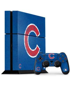 Chicago Cubs - Solid Distressed PS4 Console and Controller Bundle Skin