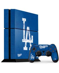 Los Angeles Dodgers - Solid Distressed PS4 Console and Controller Bundle Skin