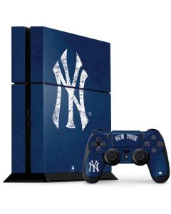 New York Yankees - Solid Distressed PS4 Console and Controller Bundle Skin