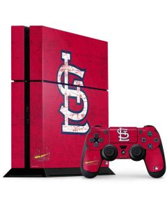 St. Louis Cardinals - Solid Distressed PS4 Console and Controller Bundle Skin
